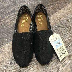 Black Sparkly Toms 8.5